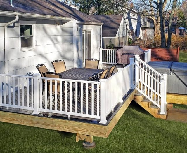west gray composite deck with south seas spa