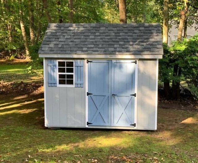 A- Frame Shed with T-111 Gray Siding and Blue Doors and Shutters