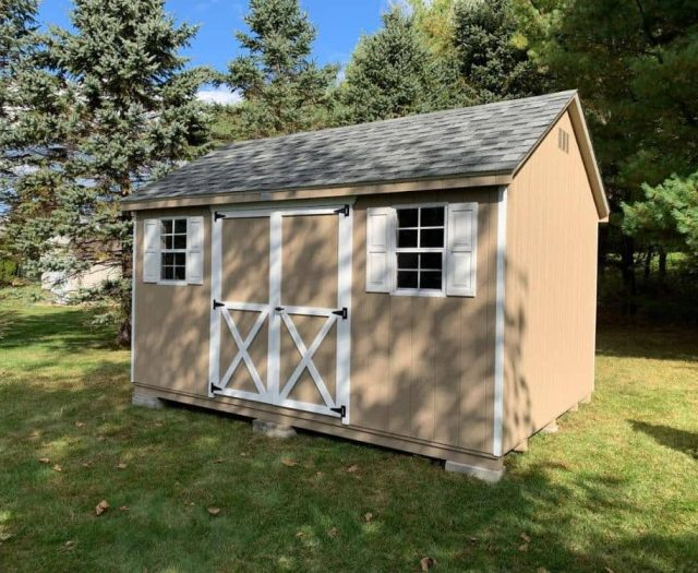 A- Frame Shed with Tan T-111 Siding and White Trim and Shutters