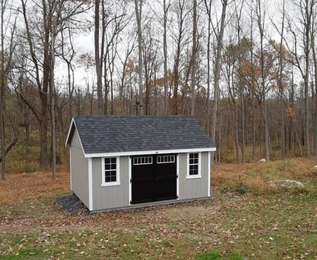 A- Frame Shed with Weather Vane, Gray T-111 Siding and Black Double Doors