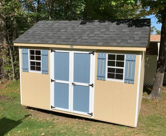 A- Frame Shed with Yellow T-111 Siding, Blue Door and Shutters, and White Trim