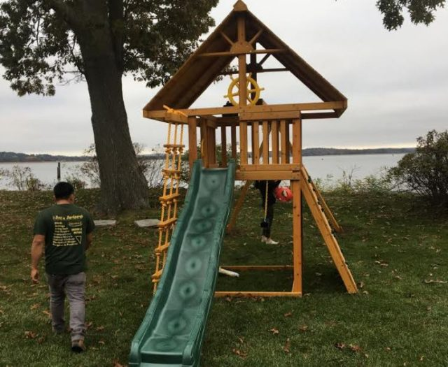 Dream Jungle Gym with Green Slide, Jacob's Ladder and Rock Wall