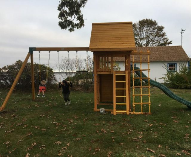 Dream Swing Set with Wood Roof, Wave Slide, and Full Bucket Swing