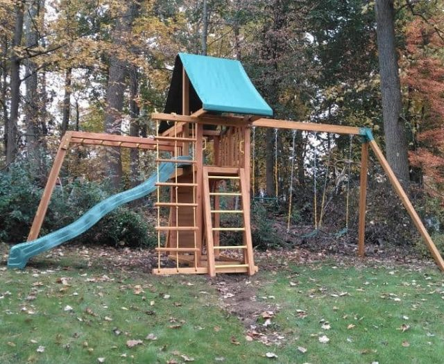 Dreamscape Swing Set with Wave Slide, Jacob's Ladder, and Sling Swings