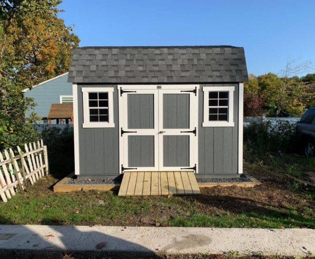 Dutch BarnBackyard Shed with Blueish Gray T-111 Siding, White Trim, and PT Ramp