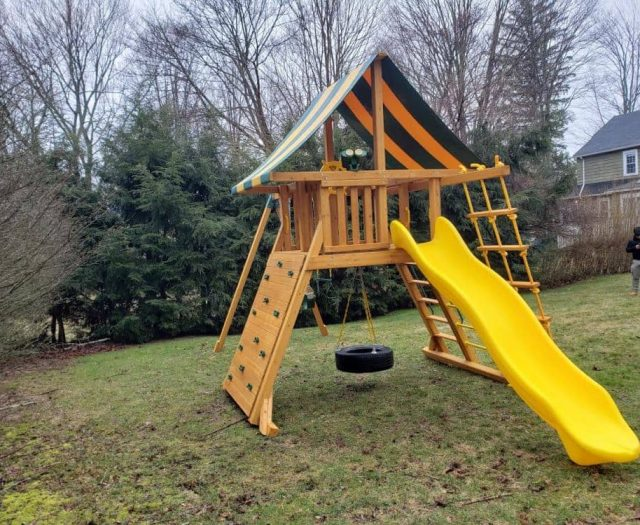 Extreme Playground with Yellow Slide Tire Swing