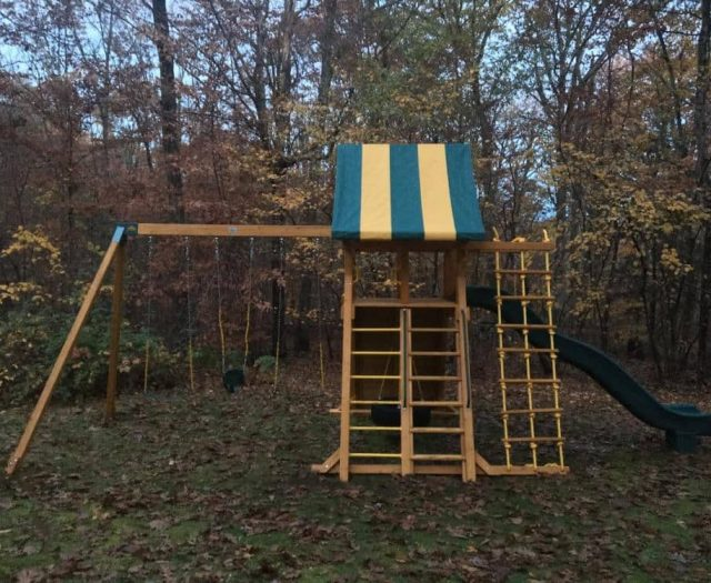 Extreme Swing Set with Ladder, Swings, and Striped Tent Top