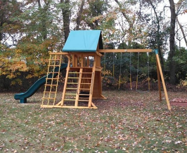 Extreme Swing Set with Swings, Scoop Slide, and Double Ladder