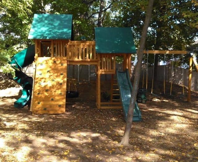 Fantasy Swing Set with Walkway, Rockwall and Spiral Slide