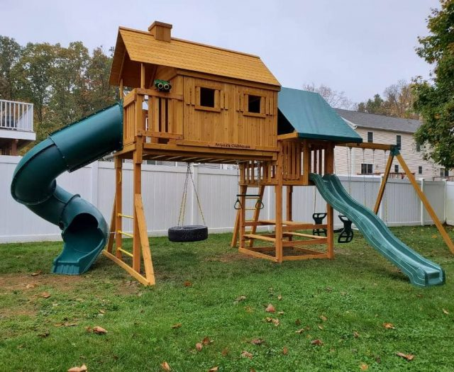 Fantasy Tree House Swing Set with Name Plate, Slide, and Tire Swing