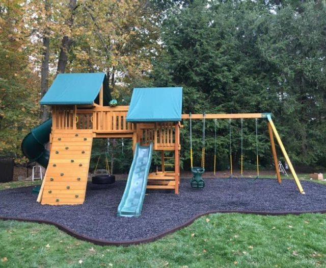 Fantasy with Green Tent Top, Picnic Table and Rock Wall Wave Slide