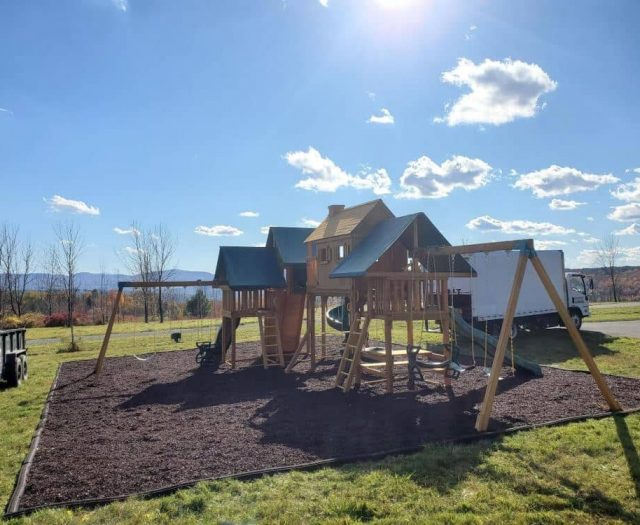 Imagination Jungle Gym with RubberCycle Mulch, Horse Glider Swing, and Picnic Table