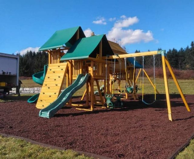 Imagination Swing Set with Wave Slide, Rock Wall and Full Bucket Swing