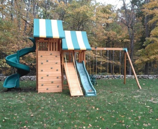 Sky Jungle Gym with Open Spiral Slide, Rock Wall and Gang Plank