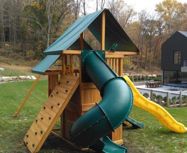 Sky Playground with Rock Wall, Spiral Slide, and Binoculars