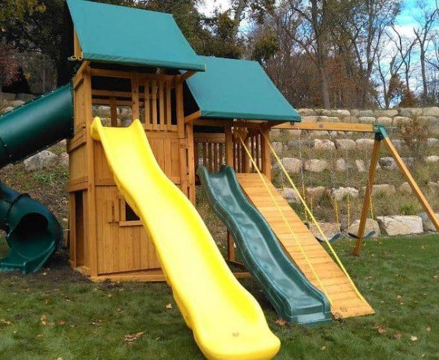 Sky Swing Set with Wave Slide, Spiral Slide, and Scoop Slide
