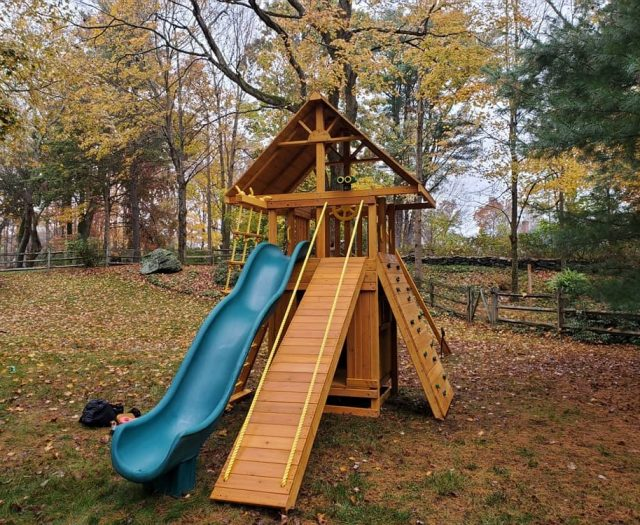 Ultimate Jungle Gym with Rock Wall, Bottom Clubhouse, and Slide