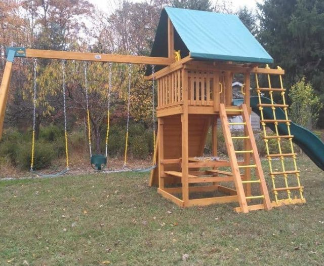Ultimate Playground with Picnic Table, Full Bucket Swing, and Ships Wheel