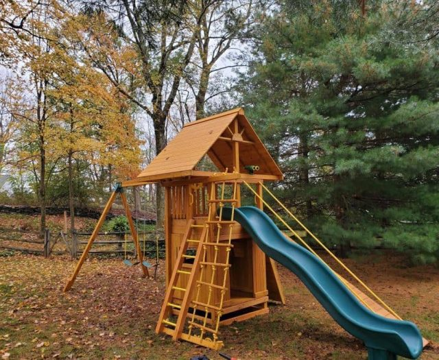 Ultimate Swing Set with Scoop Slide, Jacob's Ladder, and Wood Roof