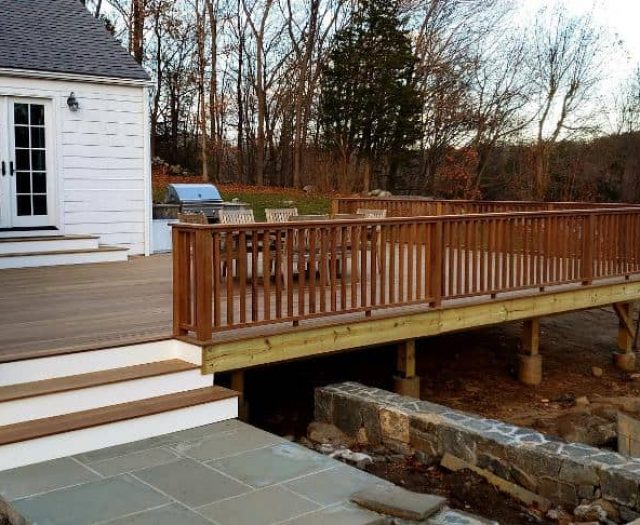 Backyard Deck with Hardwood Flooring