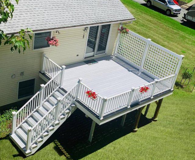 second floor decks with composite gray flooring