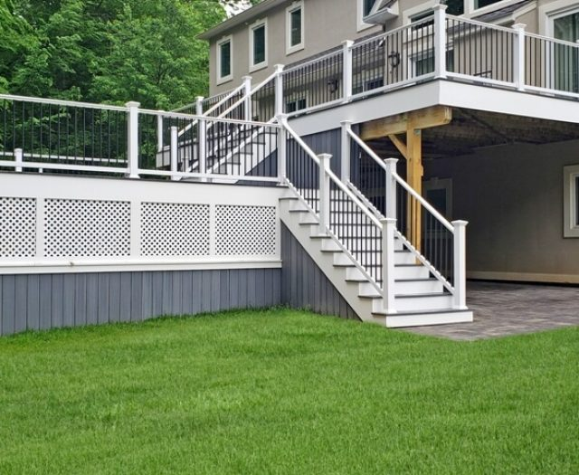 two story composite deck in westminster gray
