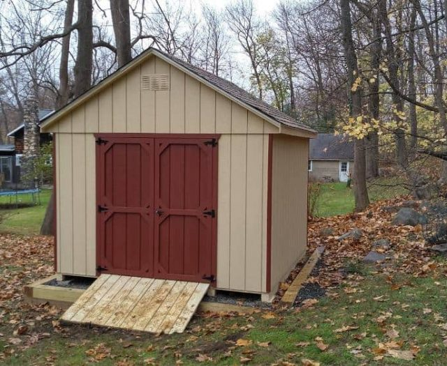 A- Frame Backyard Shed with Tan T-111 Siding, Red Door and Trim
