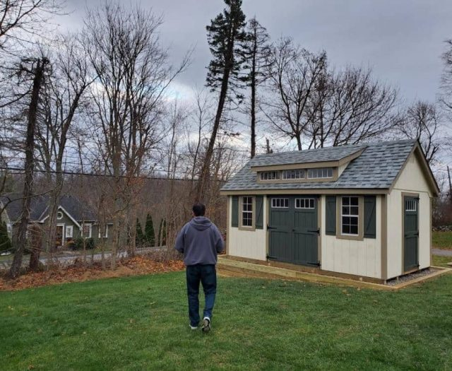 A-Frame Shed Backyard Shed with Tan T-111 Siding, Olive Double Doors and Olive Shutters