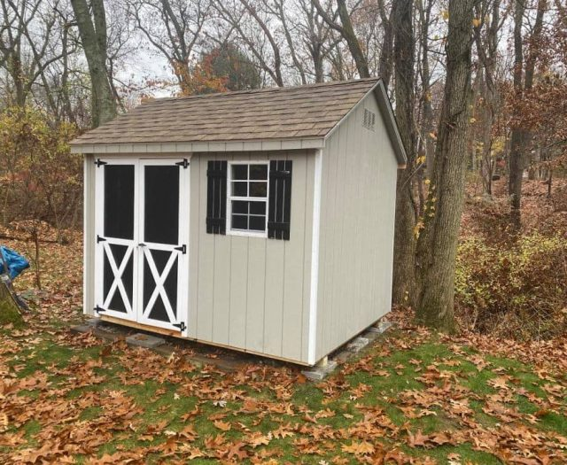 A- Frame Shed with Beige T-111 Siding, Double Door, and White Trim