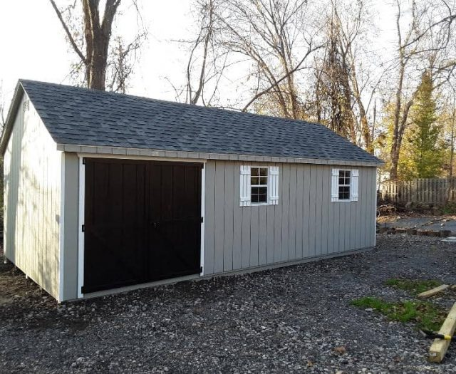 A- Frame Shed with Gray T-111 Siding, Black Double Doors, and Windows