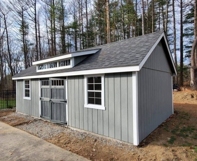 A- Frame Shed with Gray T-111 Siding, White Trim, and Dormer