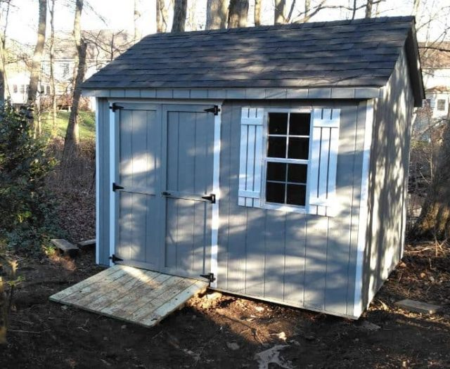 A- Frame Shed with Gray T-111 Siding, White Trim, and White Shutters