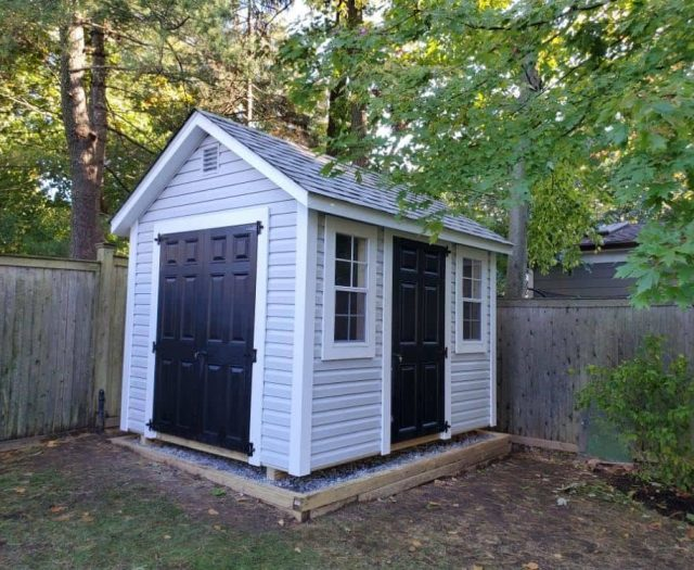 A-Frame Shed with Gray Vinyl Siding, Black Doors, and White Trim