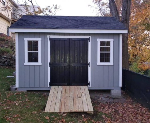 A- Frame Storage Shed with Blue T-111 Siding, Black Double Doors and White Trim