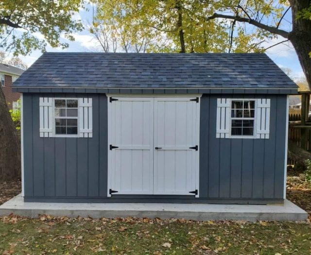 A- Frame Storage Shed with Blue T-111 Siding, White Double Door and White Shutters