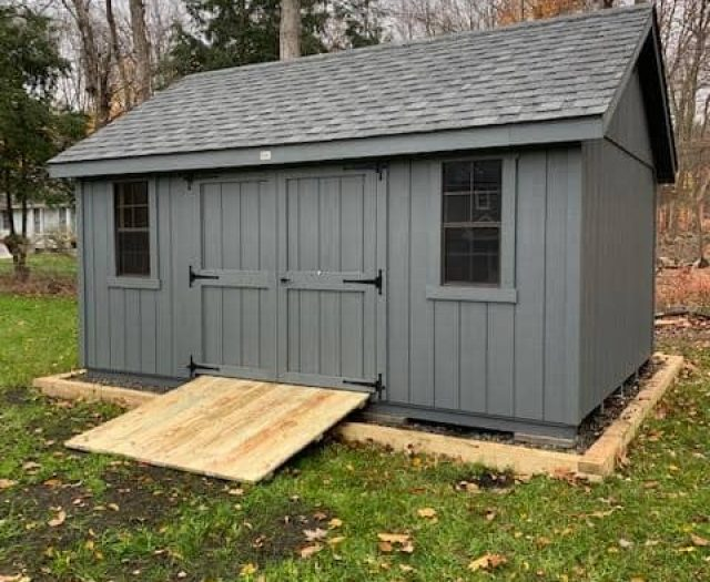 A- Frame Storage Shed with Dark Grey T-111 Siding, Double Door, and Windows