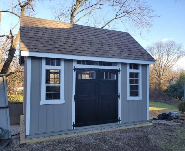 A- Frame Storage Shed with Gray T-111 Siding, Black Double Doors and Windows