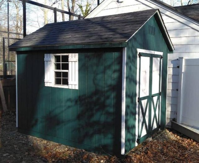 A- Frame Storage Shed with Green T-111 Siding, White Double Doors and Window
