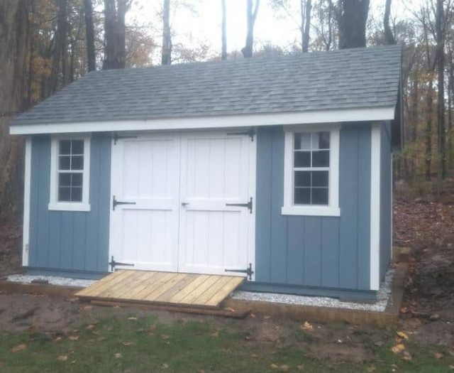 A- Frame Storage Shed with T-111 Blue Siding, White Double Door, and White Trim