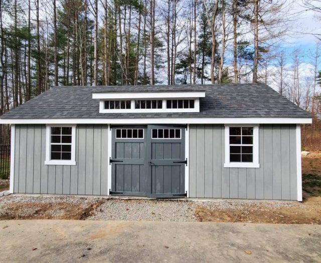 A- Frame Storage Shed with T-111 Siding, Dark Gray Double Door, and Giant Dormer