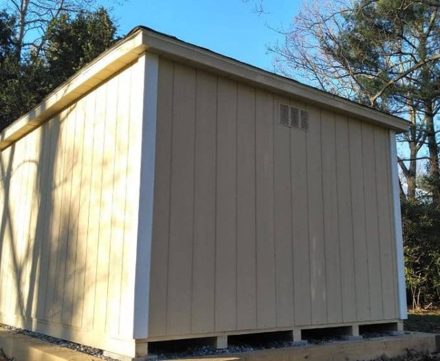 A- Frame Storage Shed with Yellow T-111 Siding, White Trim and Vent
