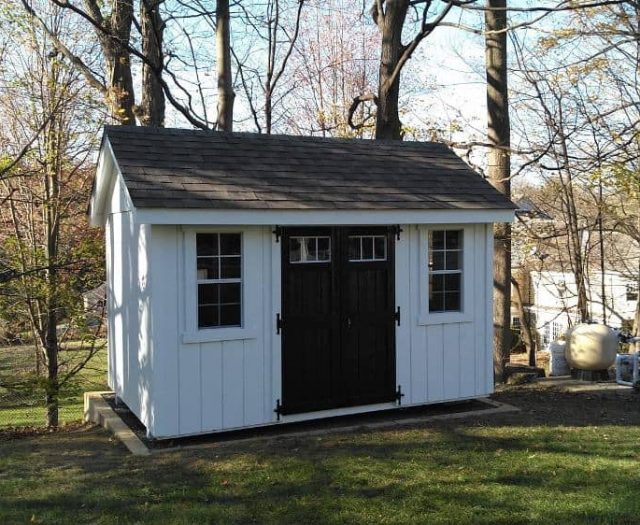 A- Frame White T-111 Siding, Black Windowed Door, and Windows