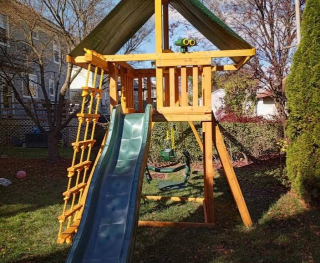Dream Swing Set with Green Wave Slide, Jacob's Ladder, and Binoculars