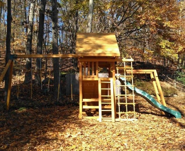Dream Swing Set with Monkey Bars, Wood Roof, and Picnic Table