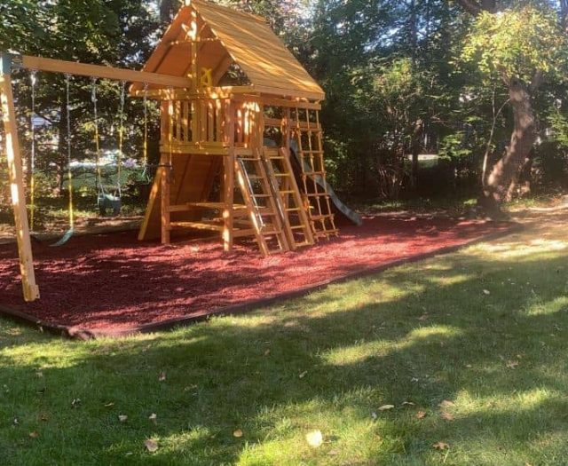 Dream Swing Set with Red Rubber Mulch, Wood Roof, and Swing