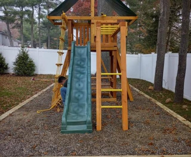 Dreamscape Swing Set with Monkey Bars, Wave Slide and Tent Top