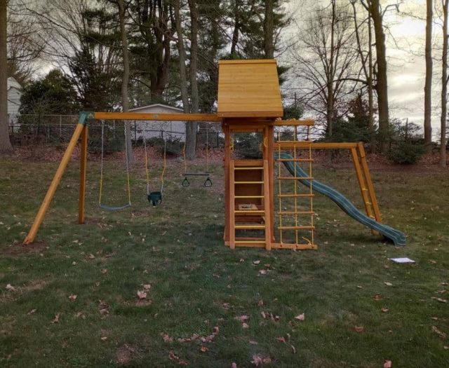 Dreamscape Swing Set with Monkey Bars, Wooden Roof, and Bucket Swing