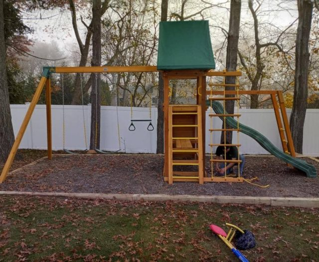 Dreamscape Swing Set with Trapeze Bar, Wave Slide, and Jacob's Ladder