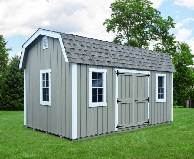 Elite Dutch Barn Storage Shed with T-111 Siding, White Trim, and Double Doors