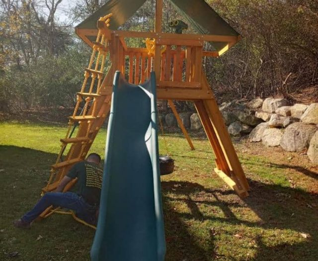 Extreme Swing Set with Scoop Slide, Tire Swing, and Binoculars